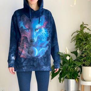 The mountain cosmic wolf sweatshirt hoodie